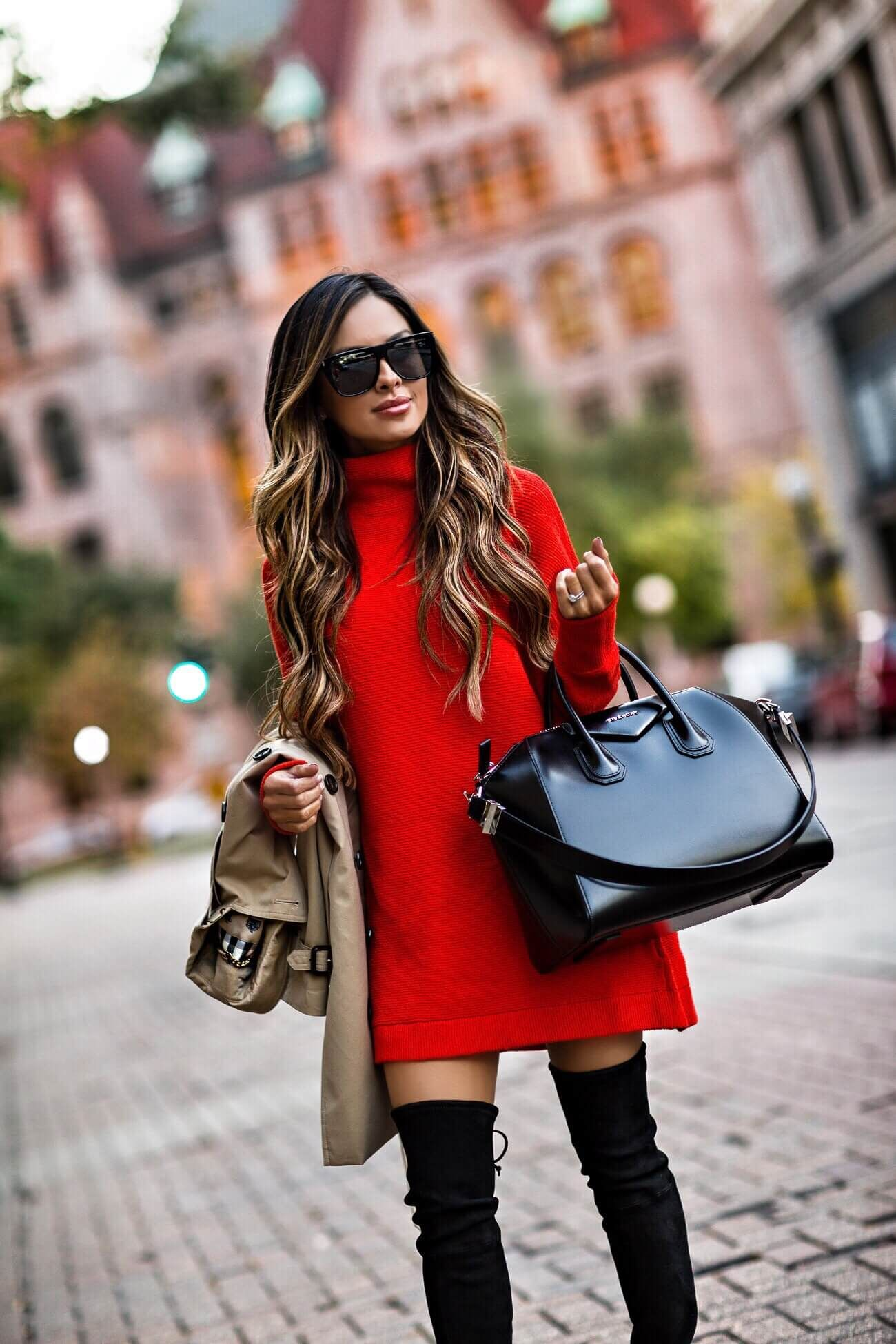 red sweater dress, stuart weitzman over-the-knee boots | My Style ...
