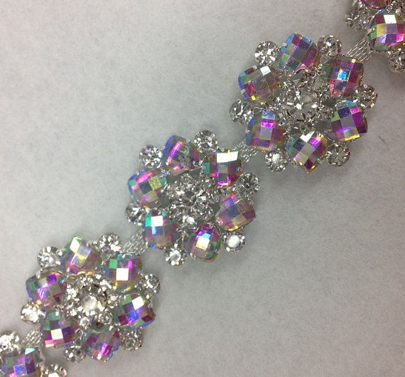 Rhinestone Flower Trimming AB Crystal Stone With Silver