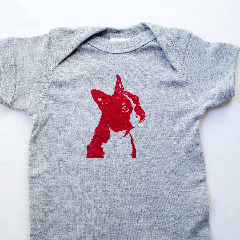 Boston Terrier Screen Print Baby Onesie Romper by alfieandrex
