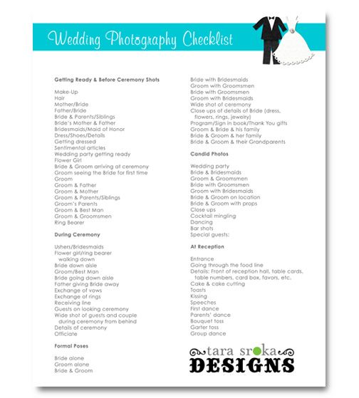 Wedding Photography Checklist Bridal 101 Free Printable Tara Sroka Designs