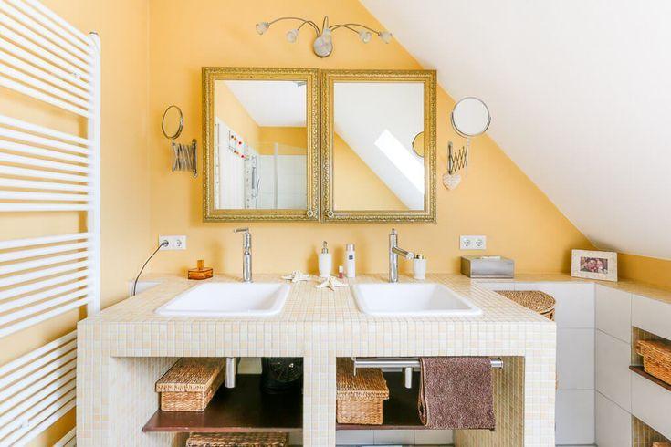 Waschtisch Gemauert Als Regal Mit Mosaik Fliesen   Badezimmer Ideen  Inneneinrichtung Haus ECO Giebelhaus Hamburg