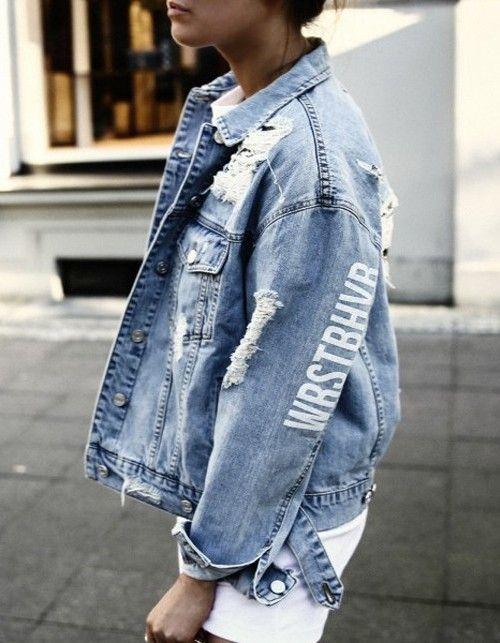 Jeansjacke mit Fransen | Jacken, Jeans und Outfit