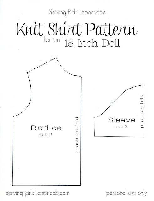 photo regarding Free Printable 18 Doll Clothes Patterns called Pin upon Sewing