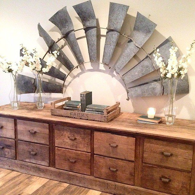 """""""Look for Unconventional Materials — Like a Windmill"""" http://www.popsugar.com/home/Vintage-Decorating-Ideas-From-Joanna-Gaines-38577342?stream_view=1&utm_content=buffer8a8d4&utm_medium=social&utm_source=pinterest.com&utm_campaign=buffer"""