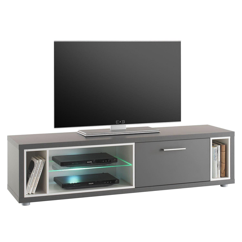 EEK A+, TV-Lowboard Claydon II (inkl. Beleuchtung) - Grau ...