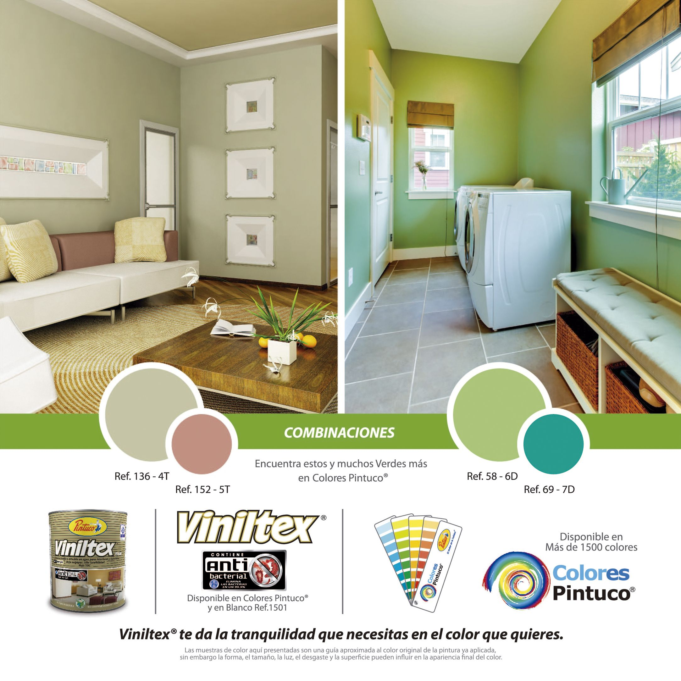 Combinaciones en color verde de viniltes de pintuco for Combinaciones de color verde para interiores