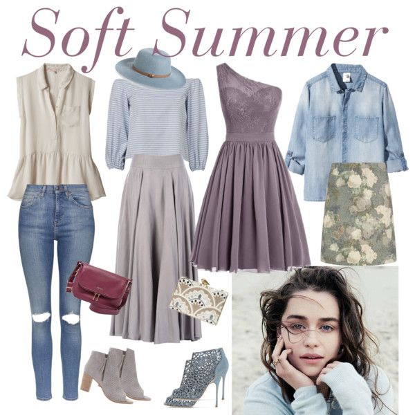 547. Soft Summer by natlik on Polyvore featuring мода, H&M, Rebecca Taylor, Topshop, Hobbs, Mint Velvet, Sergio Rossi, FOSSIL, KOTUR and Nordstrom