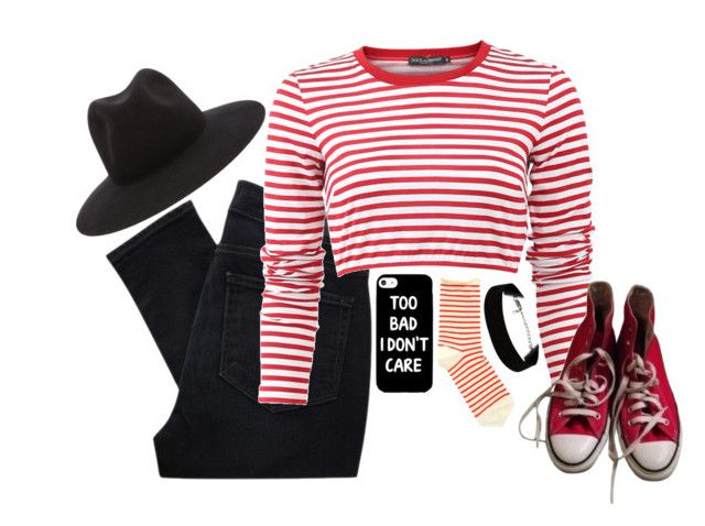 """""""046~"""" by naida-kkguat ❤ liked on Polyvore featuring Paige Denim, Hansel from Basel, Dolce&Gabbana, rag & bone and Converse"""