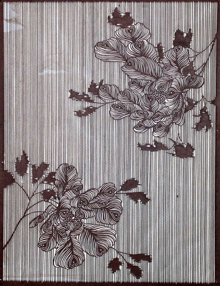 8d91e4e43 Antique Japanese katagami stencil for dyeing kimono fabric. Great design,  beautifully rendered. Hand cut from mulberrry paper. Strengthened with  cross weave ...