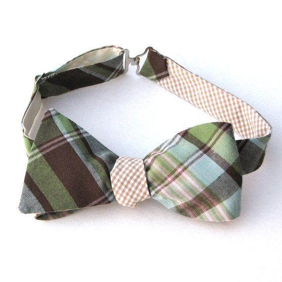 Mens Reversible Bow Tie  Piney Woods Madras and by MossTies, $38.00
