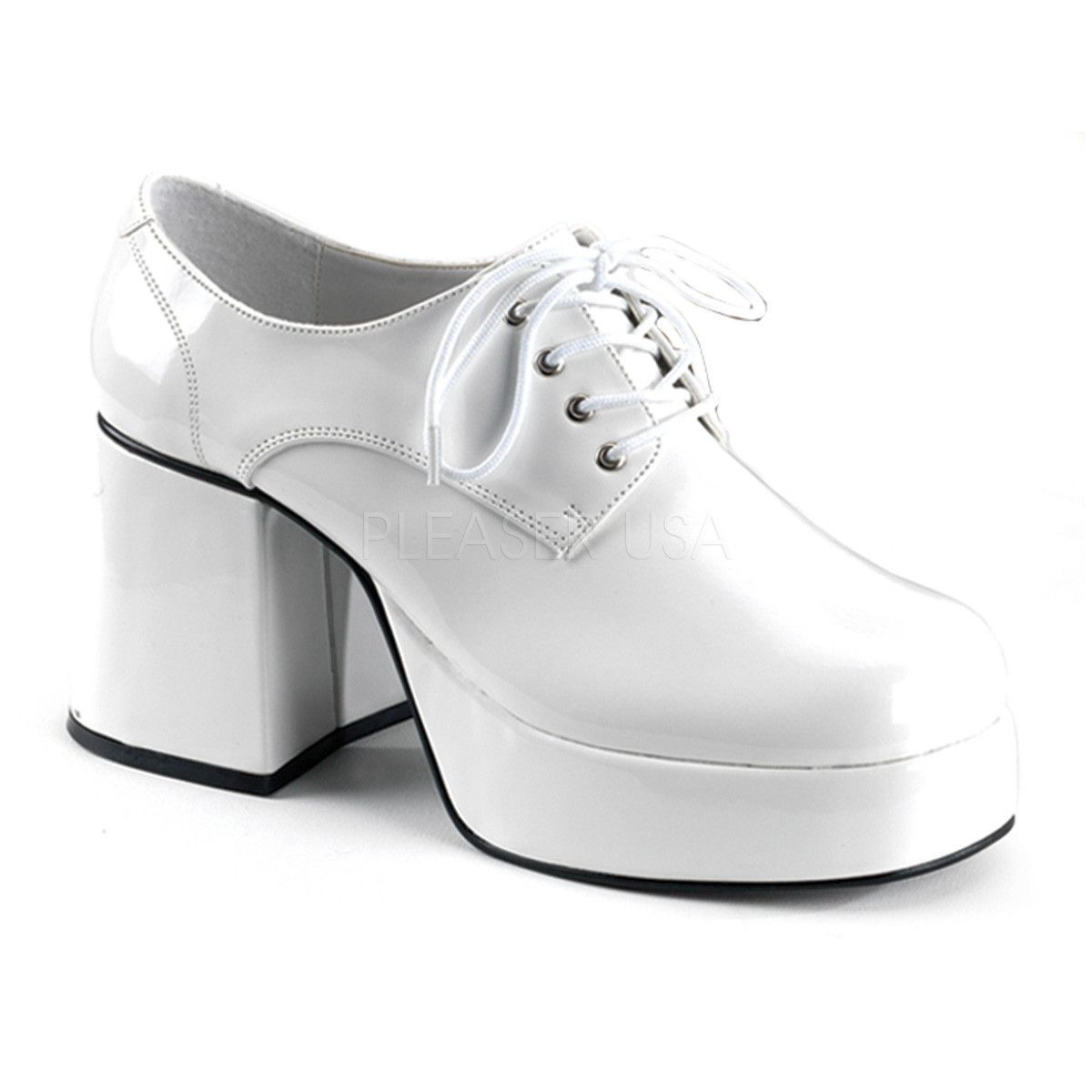 Men's White Pat Disco 70s Platform Retro Costume Shoes