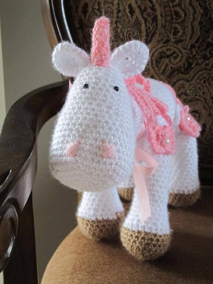 Beautiful unicorn crocheted by Susan!