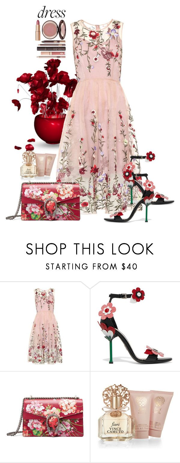 """Dreamy Dresses"" by sabine-713 ❤ liked on Polyvore featuring Prada, Gucci, Vince Camuto and Charlotte Tilbury"