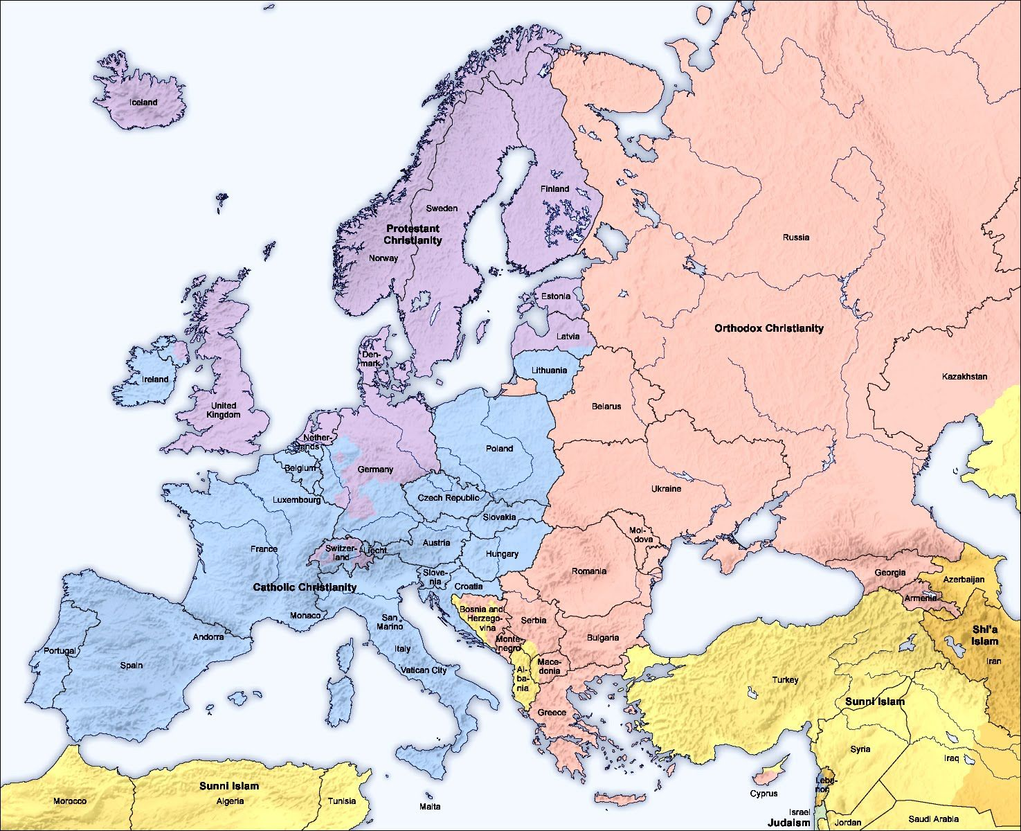 Religions Map Of Europe Along With Some Parts Of Asia And North - Religion map of the world 2013