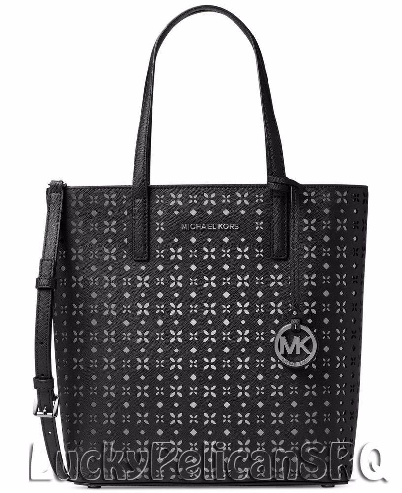 Michael Kors Hayley Medium N S Bag In Tote Saffiano Black Nickel Nwt