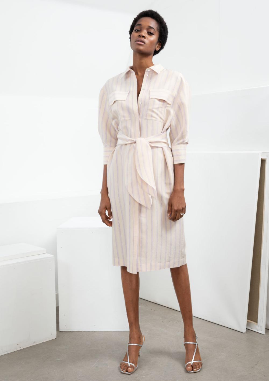 Striped Puff Sleeve Midi Dress Striped Midi Dress Puff Sleeve Midi Dresses Dresses [ 1413 x 1000 Pixel ]