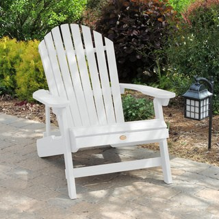 Havenside Home Mandalay Eco Friendly Synthetic Wood King Size Folding And Reclining Chair White Patio Furniture Plastic