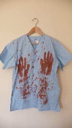 Zombie Scrub Nurse Costume Halloween National Horror Services Fancy Dress,16-18