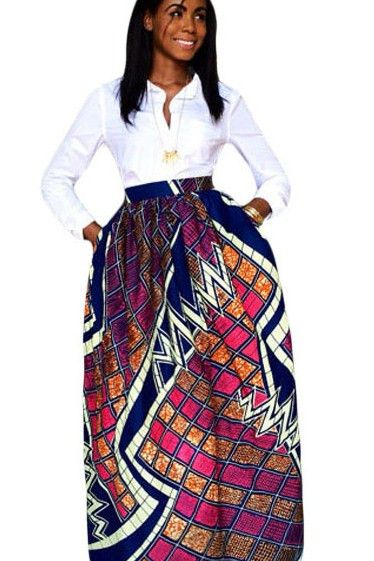 biggest discount lowest discount cheapest price Jupe Longue Taille Haute Pagne Africain Diagramme Bloc ...