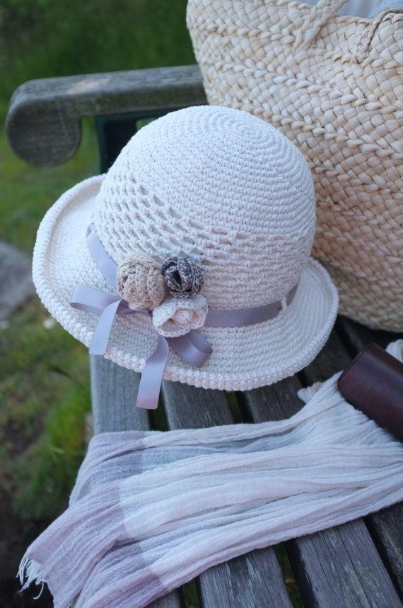Crochet Summer Hat Women Cream Cotton Sun Hat Wide Brimmed Beach Hat Gift  for Her Stylish Summer Hats Church Hat Garden Party Hat Cool Hats 2776fd27666e