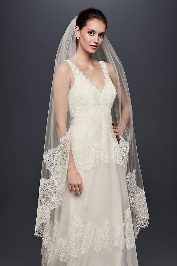 Eyelash Lace Edge Walking Veil Layered Wedding Dresses Davids Bridal Wedding Dresses Plain Wedding Dress
