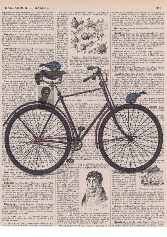 BicycleBike Antique Book Page