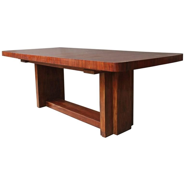 A Fine French Art Deco Modernist Mahogany Dining Table With