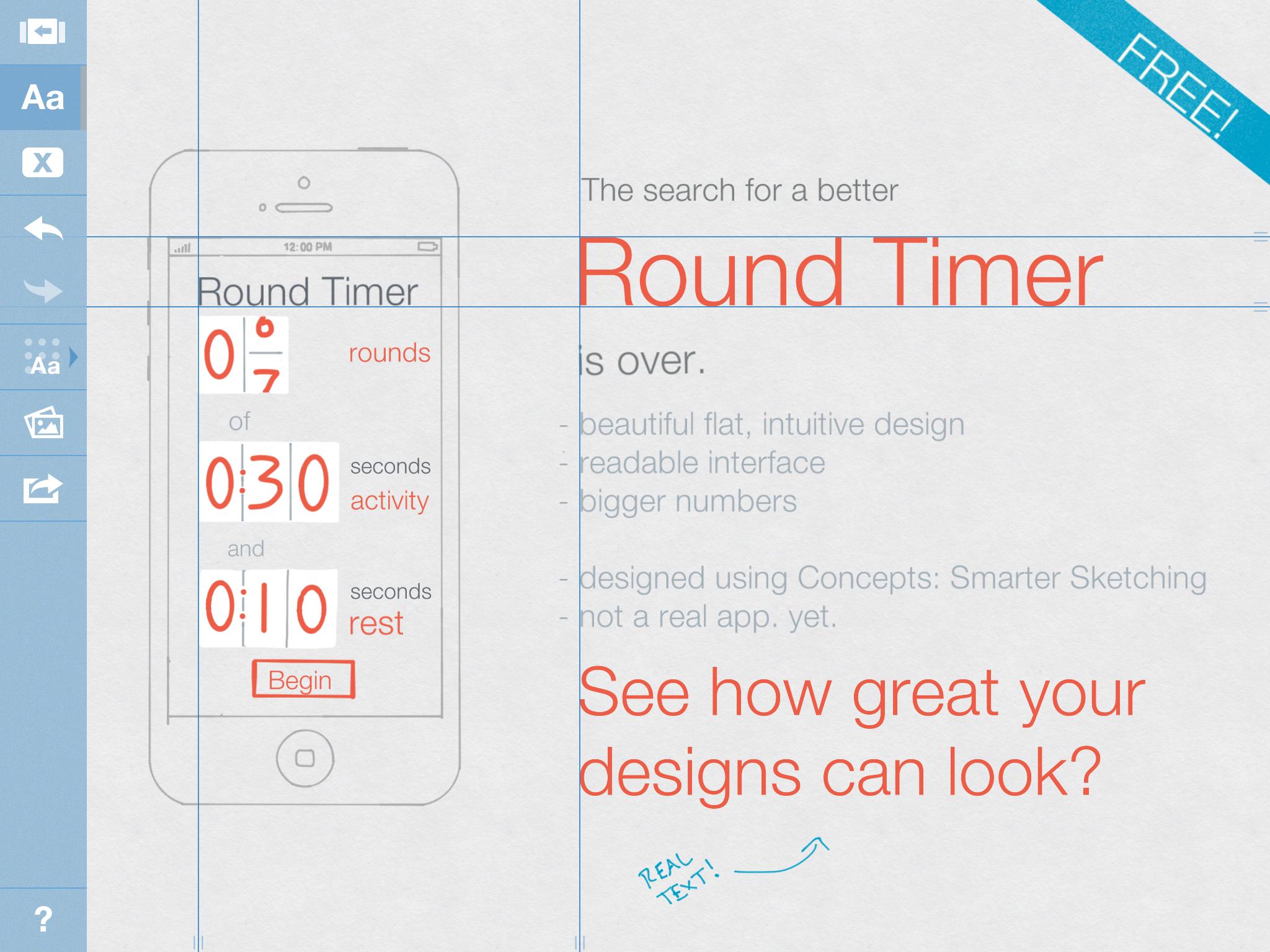 UI design in Concepts 2.0: Smarter Sketching (iPad)