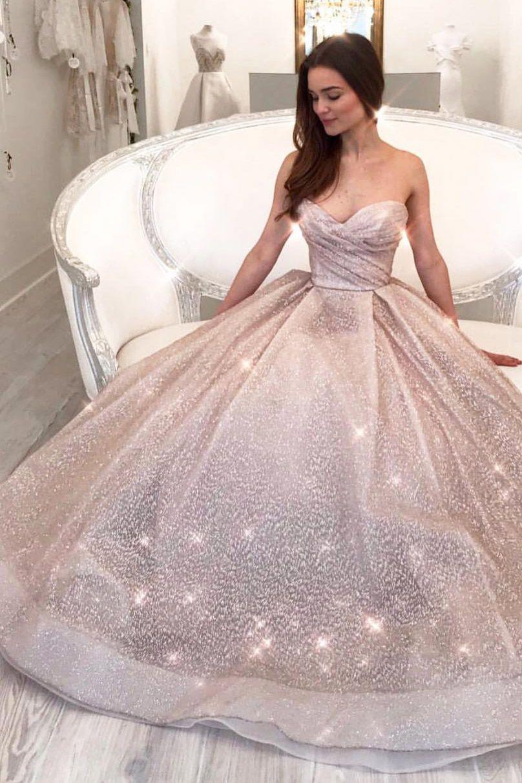Glitter Sweehteart Champagne Long Formal Dress Sparkle Wedding Dress Wedding Dress Gallery Lazaro Wedding Dress