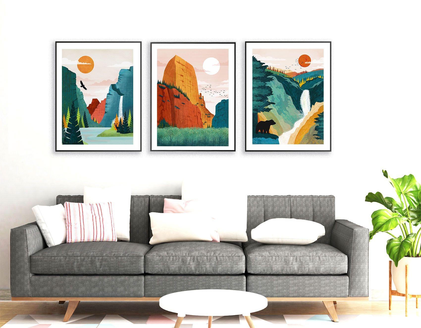 National Park Art Set Of 3 Prints National Park Print Yosemite Poster Plus Many More Decor Park Art National Park Posters