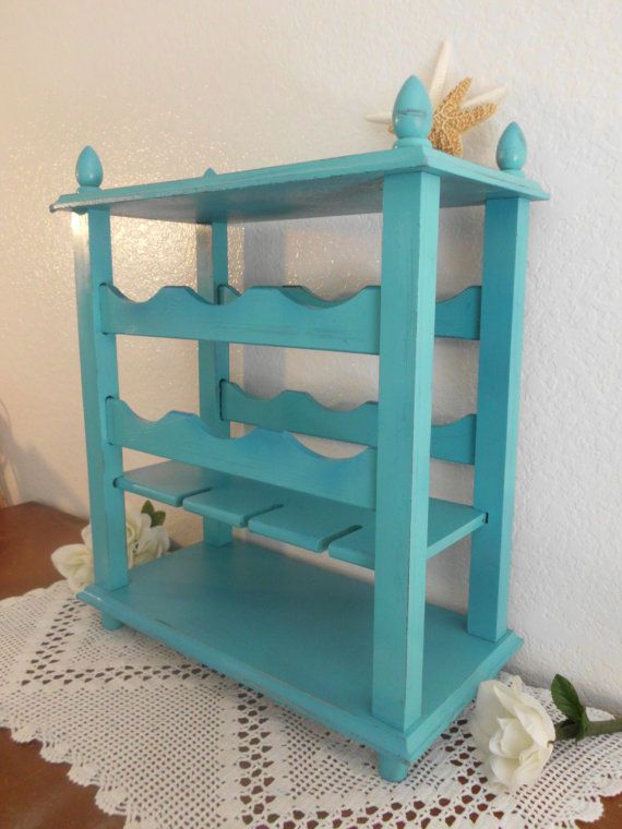 Wood Wine Rack Table Aqua Turquoise Teal Blue Rustic Shabby Chic Distressed Shelf Beach Cottage Home Decor Birthday Gift For Him Her On Etsy 64 99