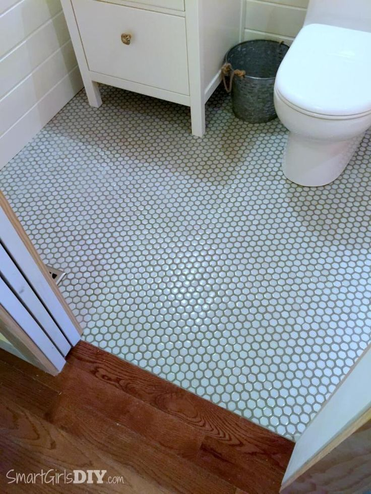 Diy Bathroom Makeover Hexagon Floor Tiles With Painted Grout Lines And A Perfect Transition To Hardwood