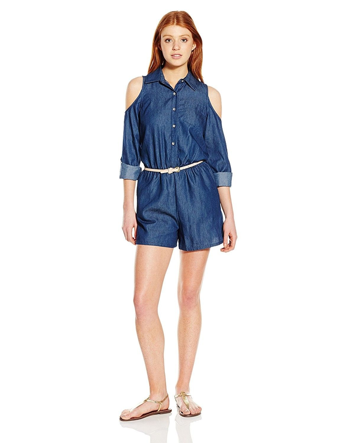 8018ad97048a Juniors Chambray Romper With Cold Shoulders and Roll Tab Sleeves and Belt -  Blue Blue - C512BBN7YLT