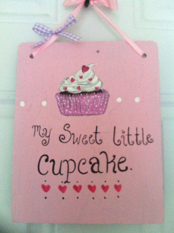 Hand Painted Sign Slate Nursery Decor Cupcake Baby