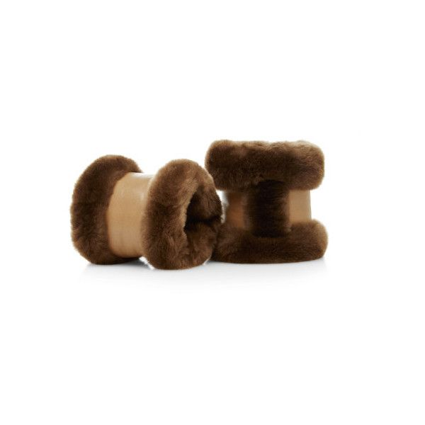 What Goes Around Comes Around Hermes Brown Nutria Fur Cuffs (€1.070) ❤ liked on Polyvore featuring accessories, brown and hermès