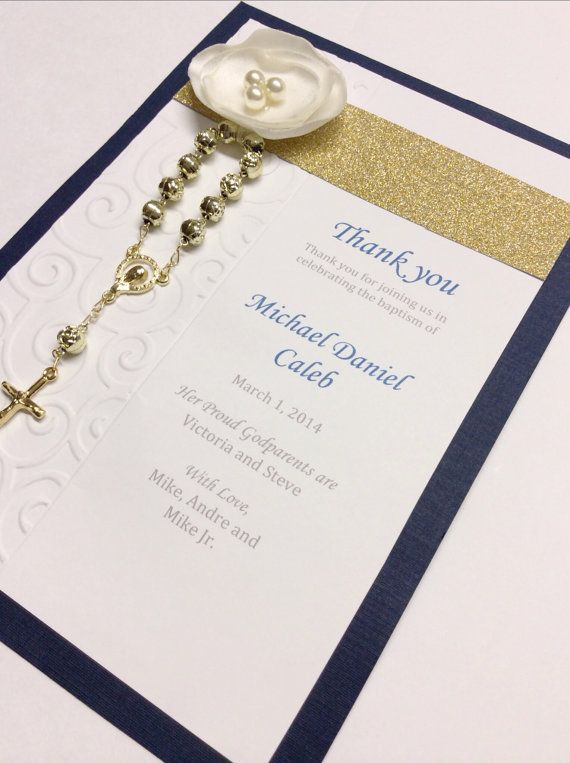 Baptism Prayer Card Favor Baptism Rosary Favor Boy Blue Baptism Favors