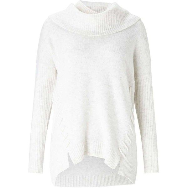 Miss Selfridge Cream Slouchy Cowl Neck Knitted Jumper ($68 ...