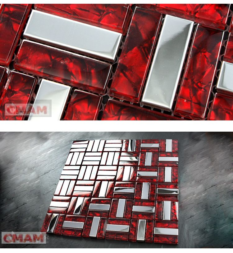 Red Tile Kitchen: [Mius Art Mosaic] Glossy Silver Stainless Steel Misxed Red