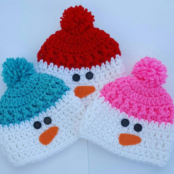 Crochet Snowman Hat Baby Beanie Newborn Toddler Children #crochethats