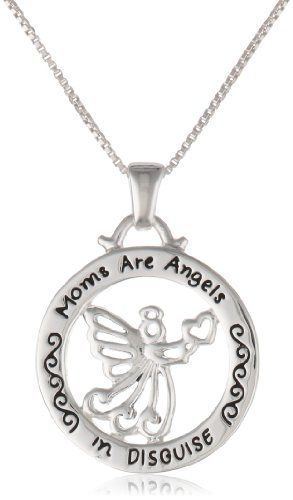 "Sterling Silver \Moms Are Angels In Disguise"" Reversible Angel Pendant Necklace"