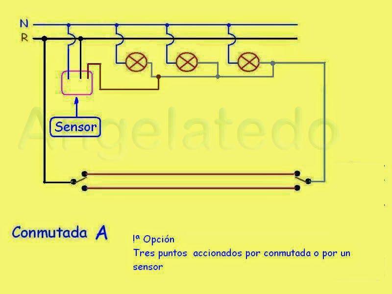 Resultado de imagen para esquema electrico con sensor de for Puntos de luz vivienda
