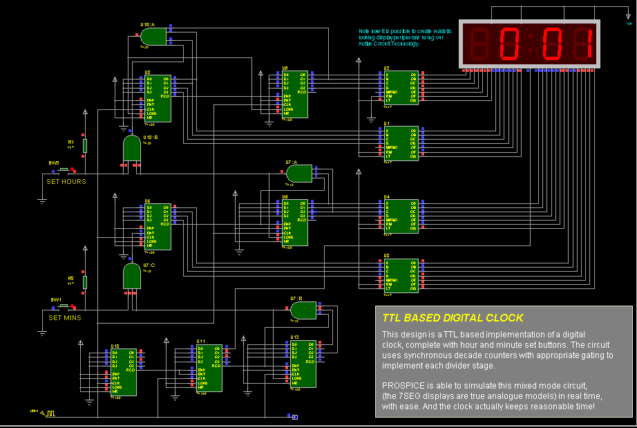 TTL Based Digital Clock Circuit diagram Electronic Circuits