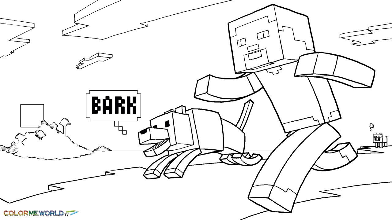 Minecraft Steve And His Dog PDF Printable Coloring Page