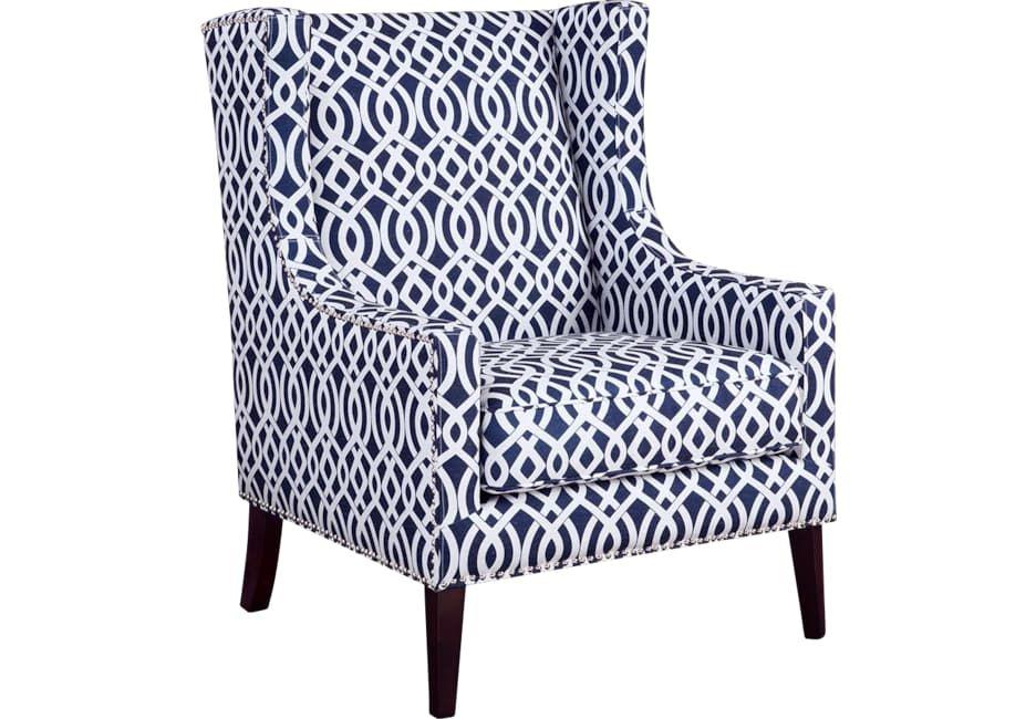 Addington Blue Print Accent Chair Printed Accent Chairs