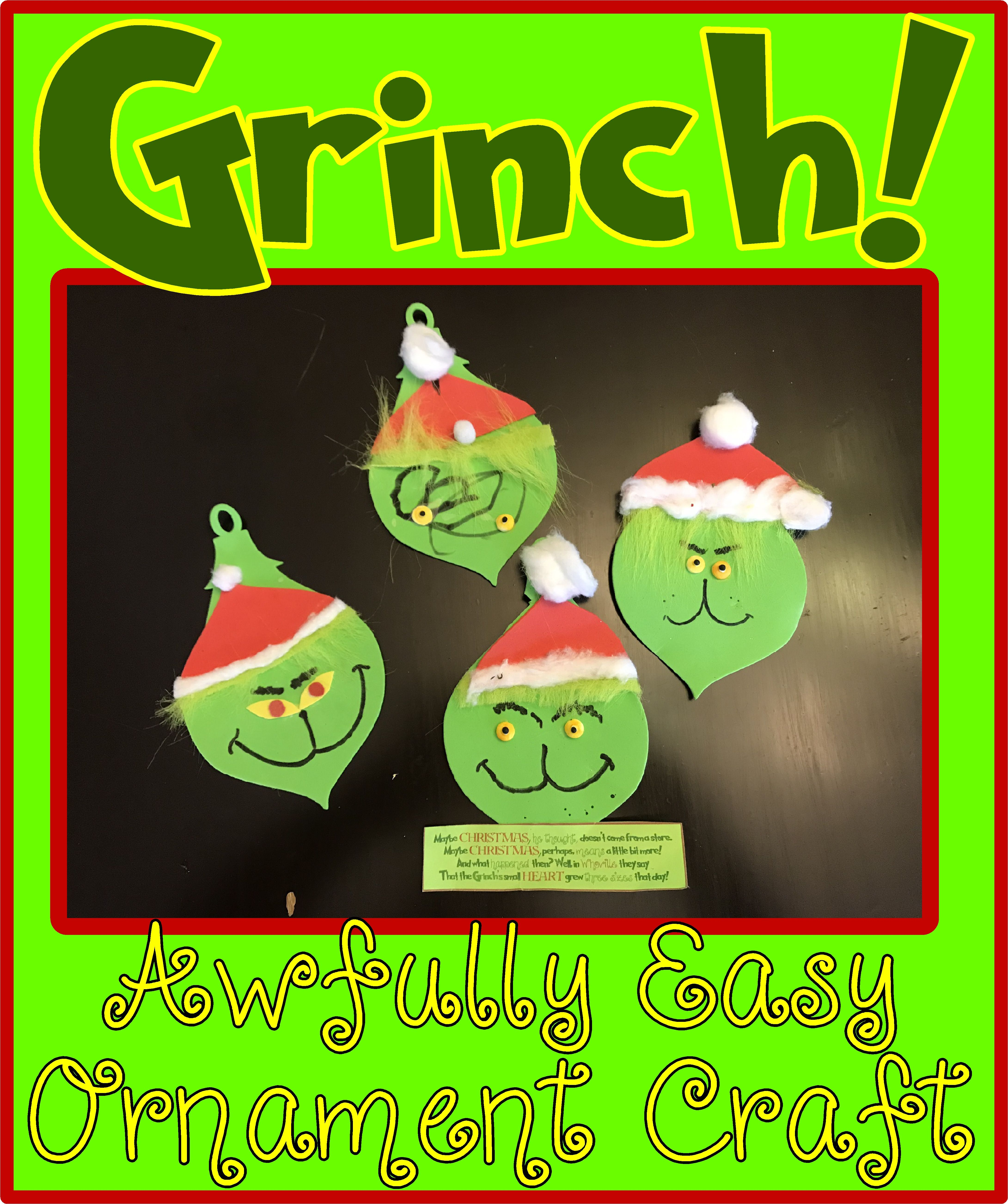 See How To Make An Easy Grinch Craft Ornament Grinch Ornament Christmas Craft Grinch Crafts Grinch Decorations Grinch Ornaments