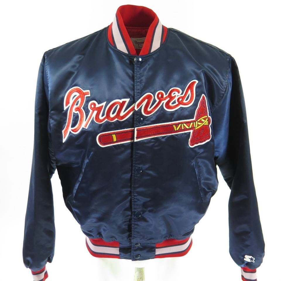 Vintage 80s Atlanta Braves Starter Diamond Jacket Xl Baseball Mlb Embroidered The Clothing Vault Vintage Sports Clothing Braves Shirts Atlanta Braves