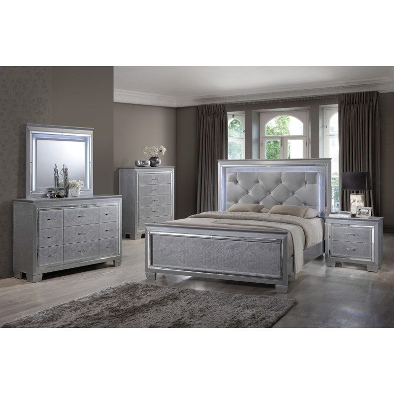Best Quality Furniture Metallic Silver 4-piece Bedroom Set with LED ...