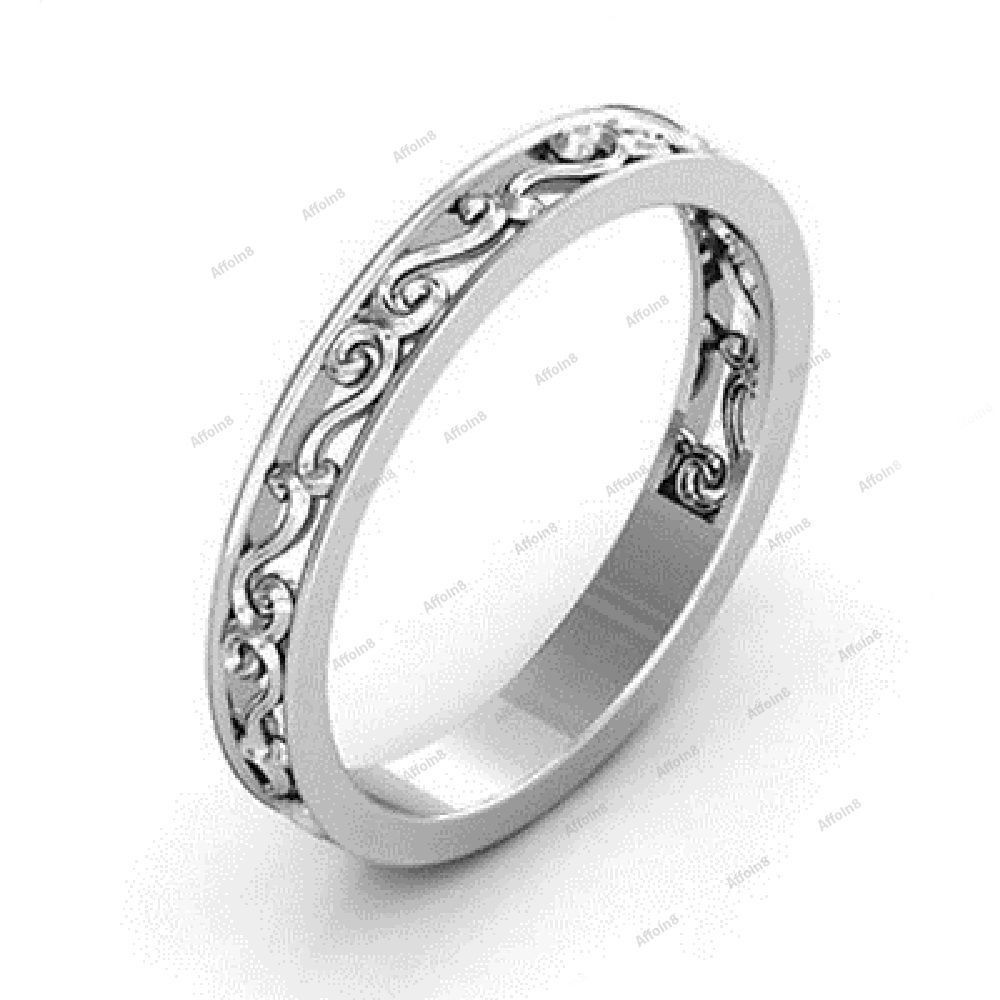 14K White Gold 925 Silver Without Stone Simple Ladies Anniversary ...