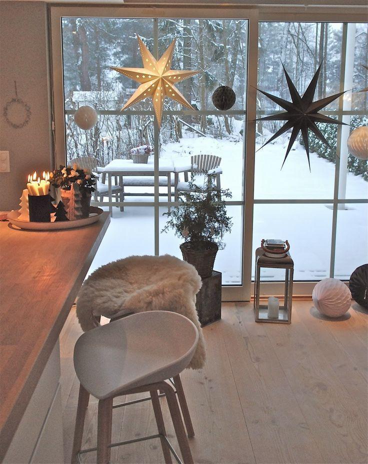 wintery white + wood open kitchen | winter versch. | pinterest ... - Wohnzimmer Deko Weihnachten