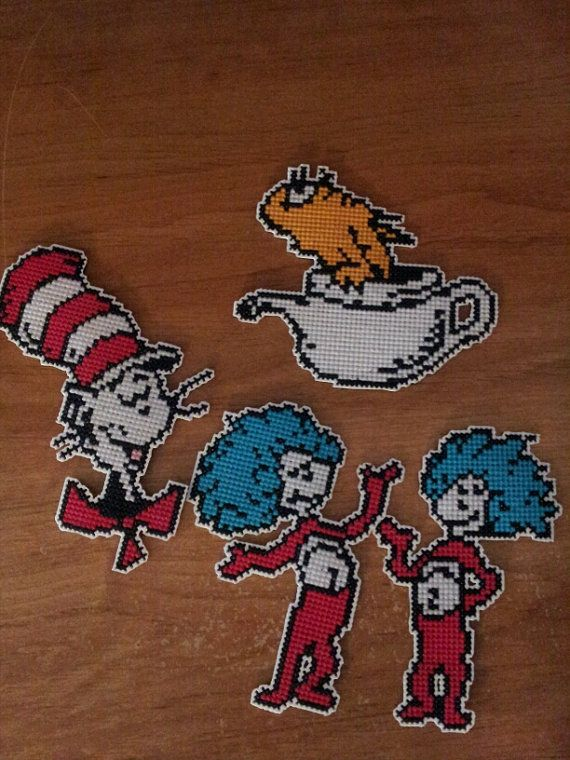 38905598dc0 Dr. Seuss Cat in the Hat magnets ornaments cross stitch on Etsy ...